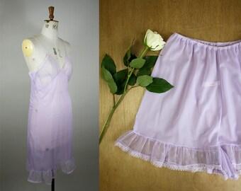 1960s Slip and Tap Pants Set / Vintage Lingerie Set / Matching Vintage Lingerie/ 1960s Tap Pants / 60s Nylon Slip / Size Medium / S M L