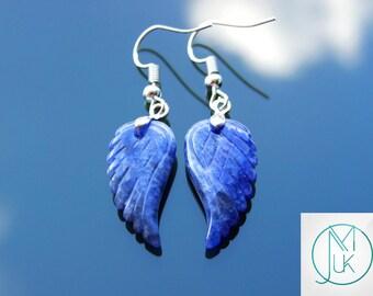 Sodalite Angel Wing Gemstone Earrings Natural Quartz Chakra Healing Stone Reiki Healing Stone FREE UK SHIPPING