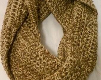 Chunky cowl infinity circle scarf/Gold Brown Cream Tan