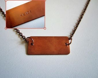 Customizable necklace - engraving plate - first name / word - copper plate and chain