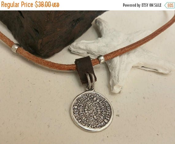 Free Shipping - Mens Coin Necklace, Old Coin Pendant, Greek Coin Necklace, Coin Jewelry, Leather Coin Pendant, Leather Money Jewelry, Mens M