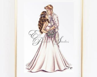 Custom Bride and Groom Illustration - Ink and Coloured Pencil Illustration