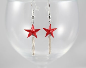 Origami, origami, Star Red earrings Japanese paper