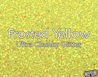 Chunky Frosted Yellow Glitter Fabric A4 Or A5 Sheets Faux Leather For Bows & Crafts