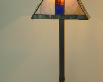 Tiffany Style Mission Stained Glass Table Lamp With Metal Base