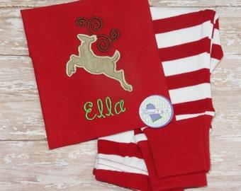 Personalized Christmas Pajamas - Reindeer Pajamas - Christmas Pjs - Kids Christmas Pajamas - Christmas Pajamas - Kids Christmas Pjs