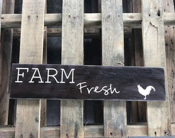 Farm Fresh sign  old fence panel distressed sign Chickens Farmhouse