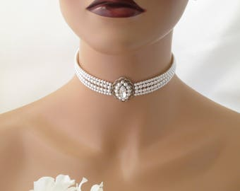 Wedding choker, Swarovski multi-strand pearl necklace, Vintage style bridal choker, Crystal and pearl wedding jewelry