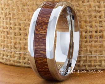 Wood Tungsten Ring Wood Inlay Wedding Band 8mm Tungsten Band Hers His Womens Mens Ring Anniversary Ring Promise Ring Custom Laser Engraving