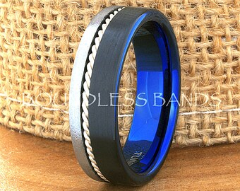 Tungsten Ring Tungsten Wedding Ring Mens Wedding Ring Promise Anniversary Engagement 7mm Black Blue White Woven Silver Inlay Ring New Design