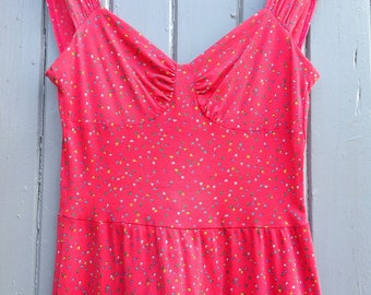 Vintage summer dress size 8 pink dress multi coloured confetti design - Festival dresses