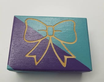 Desk organizer, Bow Box, Back to school, Purple and Blue Trinket Box, small Storage box, Laser Engraved