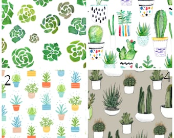 Succulent themed blanket / nursery bedding / crib sheet // Cacti, greenery, pots, gardens, watercolor plants