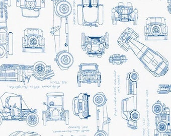 Vintage Car Fabric / Vintage Blueprints / Automobile Blueprint Fabric Robert Kaufman 15674 4 Blue Car Fabric  / Fat Quarters and By The Yard