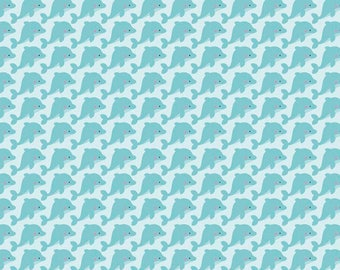 Under The Sea Fabric / Dolphins on Aqua Fabric  / Riley Blake C5962  / Fabric by the yard and Fat Quarters