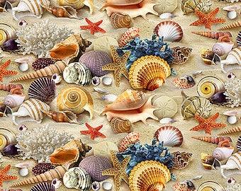 Sea Shells Toss / Seashell Fabric / Landscape Medley by Elizabeth Studio 278 /  Sea Shells All Over / Yardage and Fat Quarters