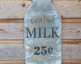 Wooden Vintage Style Milk Sign