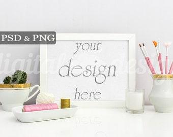 Styled Stock Photography Pink Gold Feminine Office Desk Horizontal Mockup Download Frame Empty Art Frame Product Digital Background Photo