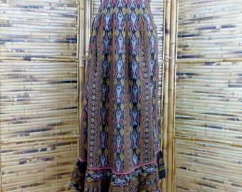 1990s Ikat Print Indian Cotton Midi Skirt - Medium