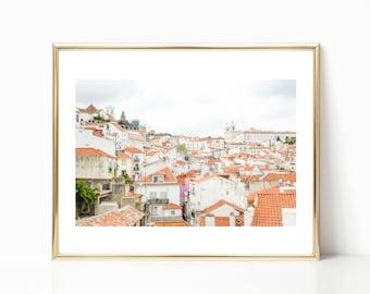 Lisbon Photography, Portugal Wall Art, Skyline, Large Travel Prints, Orange Decor