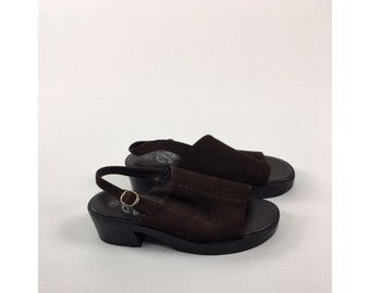 Vintage Slingback Sandals, Brown Suede Buckle, Leather Uppers Chunky Heels, 1990's, All Brown 1970's || Sz 9