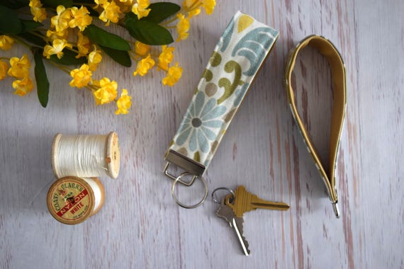 Green and Blue Fabric Key Fob. Floral Colorful Key Holder with Silver Ring. Wrist Fob Handmade w/ Cotton Fabric & Faux Leather, Tan Pleather
