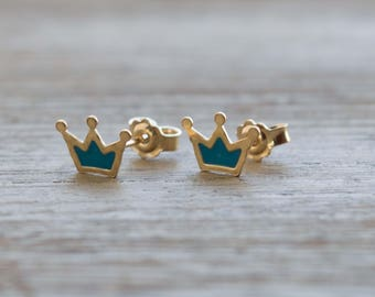 Sterling silver crown earrings crown stud earrings gift for her earrings princess earrings crown studs crown jewelry post dainty earrings