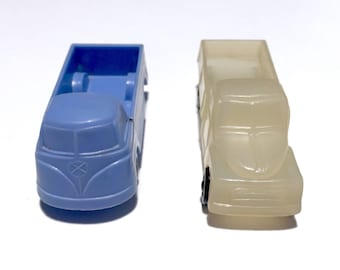 Vintage 1965 Pair of Tomte Laerdal Plastic Toy Cars - #5 Clear Flatbed Truck & #6 Pale Blue VW Bus