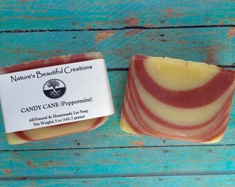 FREE SHIPPING - Candy Cane (Peppermint) 5oz Homemade All-Natural Soap