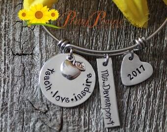 Teach Love Inspire Bangle - Teacher Bangle Bracelet - Custom Teacher Bangle - Personalized Teacher Gift
