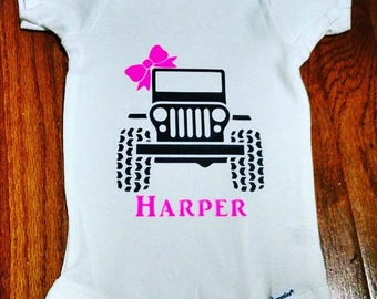 Jeep Girl or Boy Onesie or Toddler Tee Outfit
