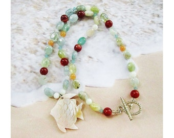 Caribbean Angel Fish Necklace, Mother of Pearl Fish Pendant, Multi Colored Aquamarine, Carnelian, Swarovski Crystals, Sterling Toggle Clasp