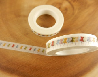 Pinboard Pin Tack Washi Tape, 8mm Japanese Tape, Stationery Washi Tape, Scrapbooking Decal, Gift for Crafter