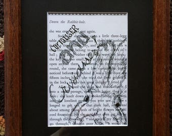 Alice in Wonderland Ink on Book Page Curiouser and Curiouser