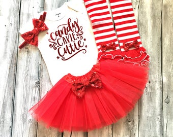 Baby girl candy cane christmas outfit, girls christmas outfit, candy cane, red and white, first christmas, 1st christmas, candy cane cutie