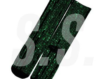 Custom Socks - Matrix Japanese! Neo Numbers Green Code glass elites elite sock