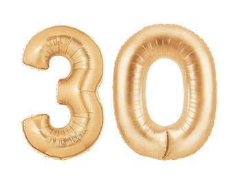 "30th Birthday Decorations, HUGE Number Balloon 40"" Mylar Foil Helium Balloon, Gold Photo Props, Anniversary Decor, Banner 20, 25, 40, 50, 60"