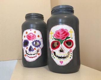 Sugar skull lantern, Calavera, day of the dead candle holder