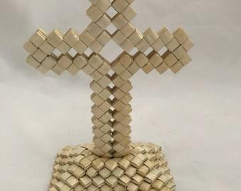 Vintage Prison Art/Tramp Art Woven Cross