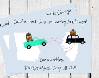 New address announcement, we've moved, new address , cars and trucks with luggage, cross country moving card PDF printables.