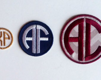 Iron On 2 Letter Circle Monogram Patch/Double Monogram Patch/CUSTOM COLORS/Two Letter Monogram/Backpack Patch/Personalized Patch/Embroidered