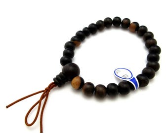 Black Kaki Wood Japanese Juzu Bracelet Prayer beads Asian Rosary Cool Zen Handmade in Kyoto UDA35
