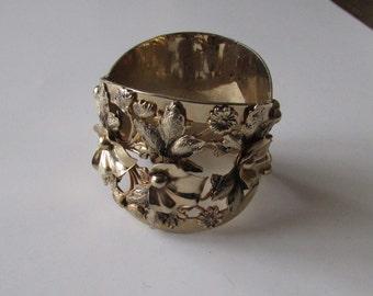 Vintage Chunky Cuff Bracelet Hinged with Closure Goldtone Floral Bracelet
