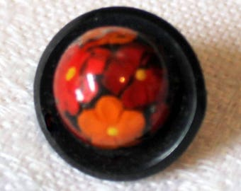 1960's Tangerine Orange Flower Button - Fun Vintage Button - 3/4""