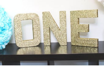 """12"""" Gold Glitter Letters / ONE / 1 / Paper Mache / Home Decor, Birthday Party Decor, Party Supplies, Gold Paper Mâché Letters"""