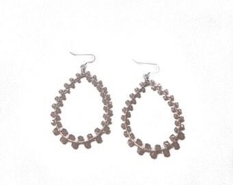 GRETA EARRING * grey opal and silver Swarovski wrap earring