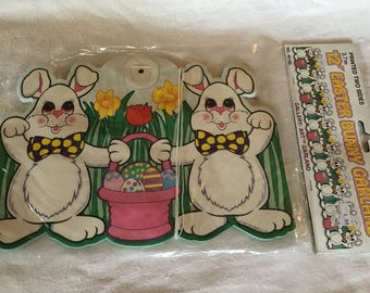 Vintage 12' Easter Bunny Paper Party Decoration Garland Printed Two Sides NIP NOS A Beistle Creation 1997