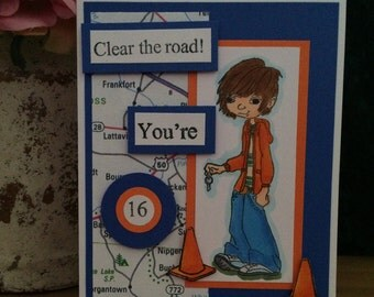 16th Birthday Card with Boy and Construction Cones
