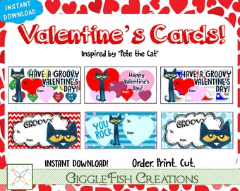 Pete the Cat Valentine's Day Cards | Digital File | 6 cards per page
