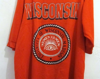 Marked Down 30%@@A Vintage 70's,OVERSIZED Red University Of WISCONSIN Nightshirt.XL